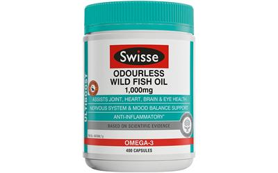 Swisse ultiboost odourless wild fish oil 1000mg cap x 400 for Fish oil for hair