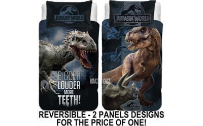 Jurassic World Single Panel Duvet Cover Bed Set Reversible Panel